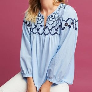 Anthropologie Embroidered Split-Neck Top new